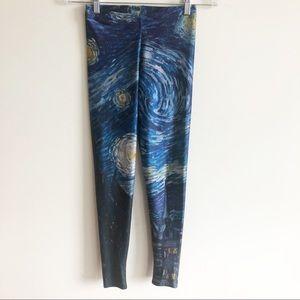 BlackMilk Van Gogh Starry Night Print Leggings S